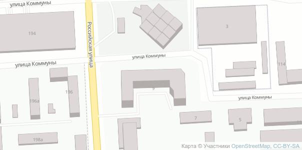 Карта OSM со зданиями разной высоты