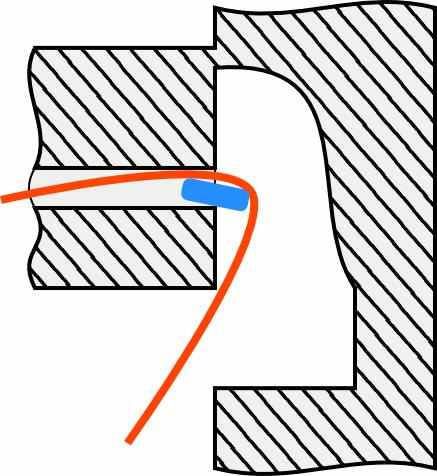 Схема выхода кабеля из канала впотолке
