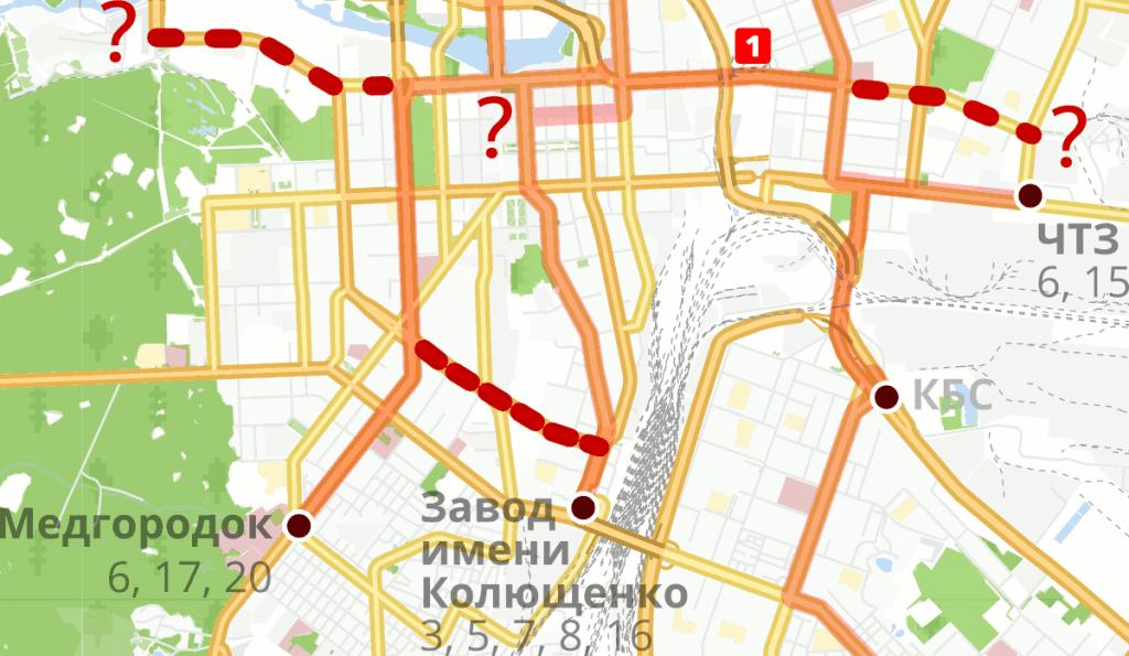 Карта перспективных линий челябинского трамвая