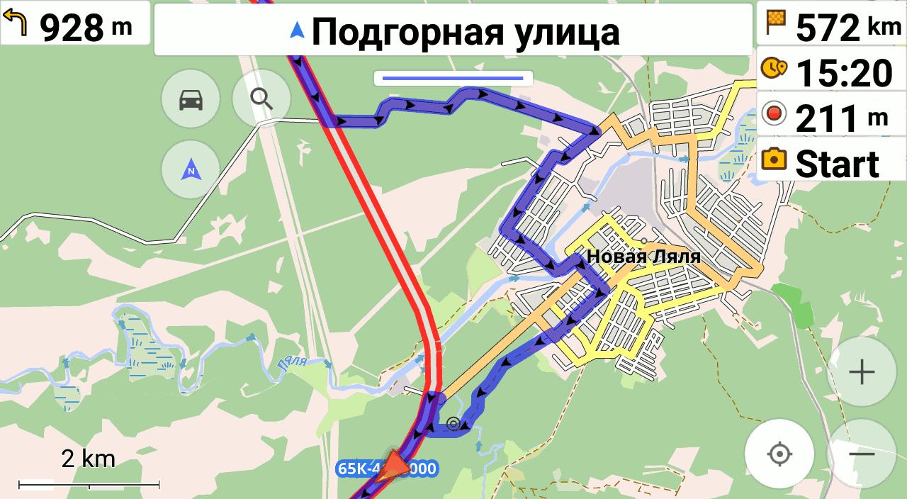 OsmAnd с криво проложенным маршрутом возле Новой Ляли