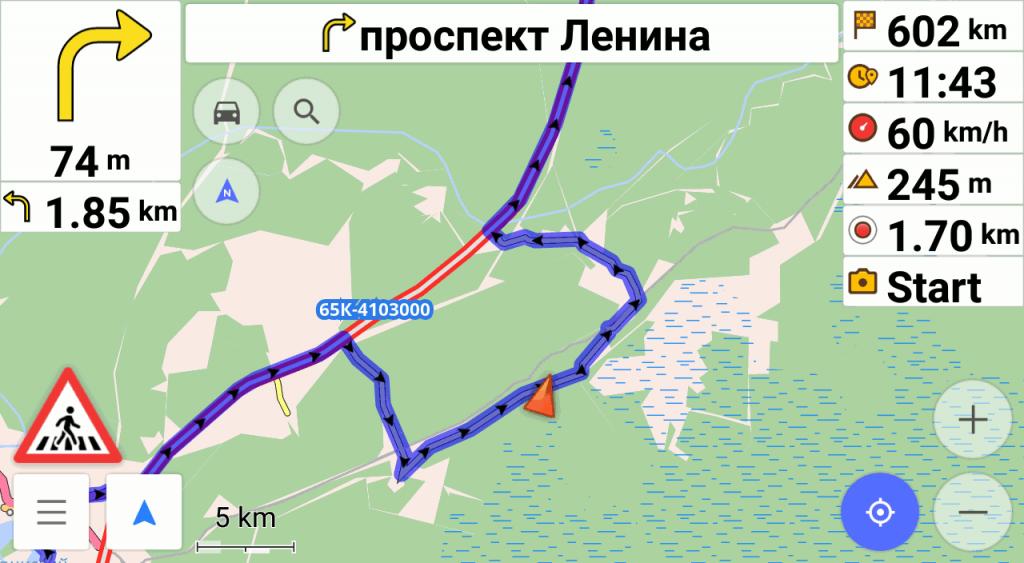 OsmAnd с криво проложенным маршрутом возле Новой Туры