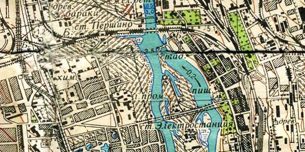 Фрагмент карты Челябинска и окрестностей 1954–1956
