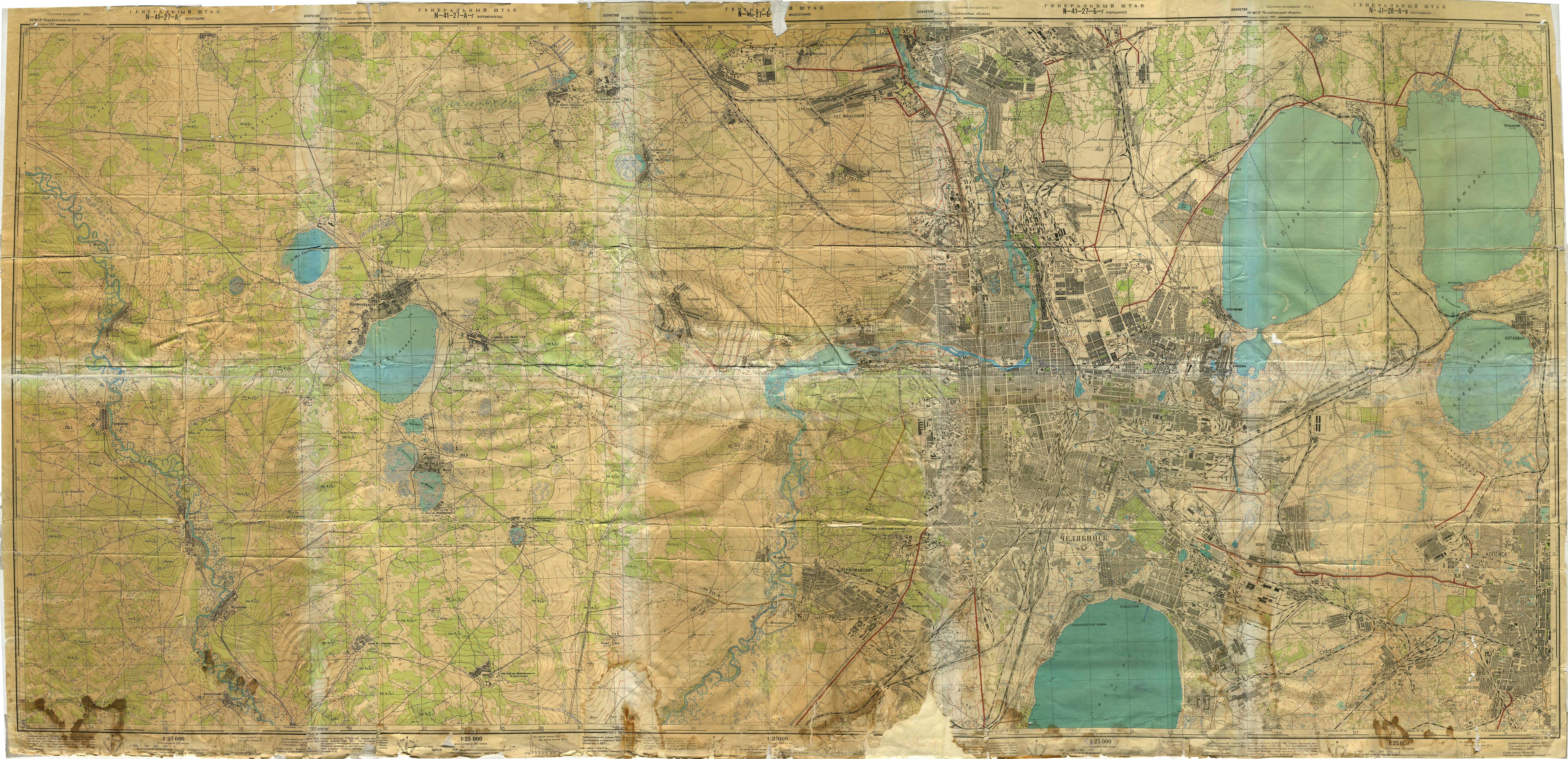 Карта Челябинска и окрестностей 1954–1956