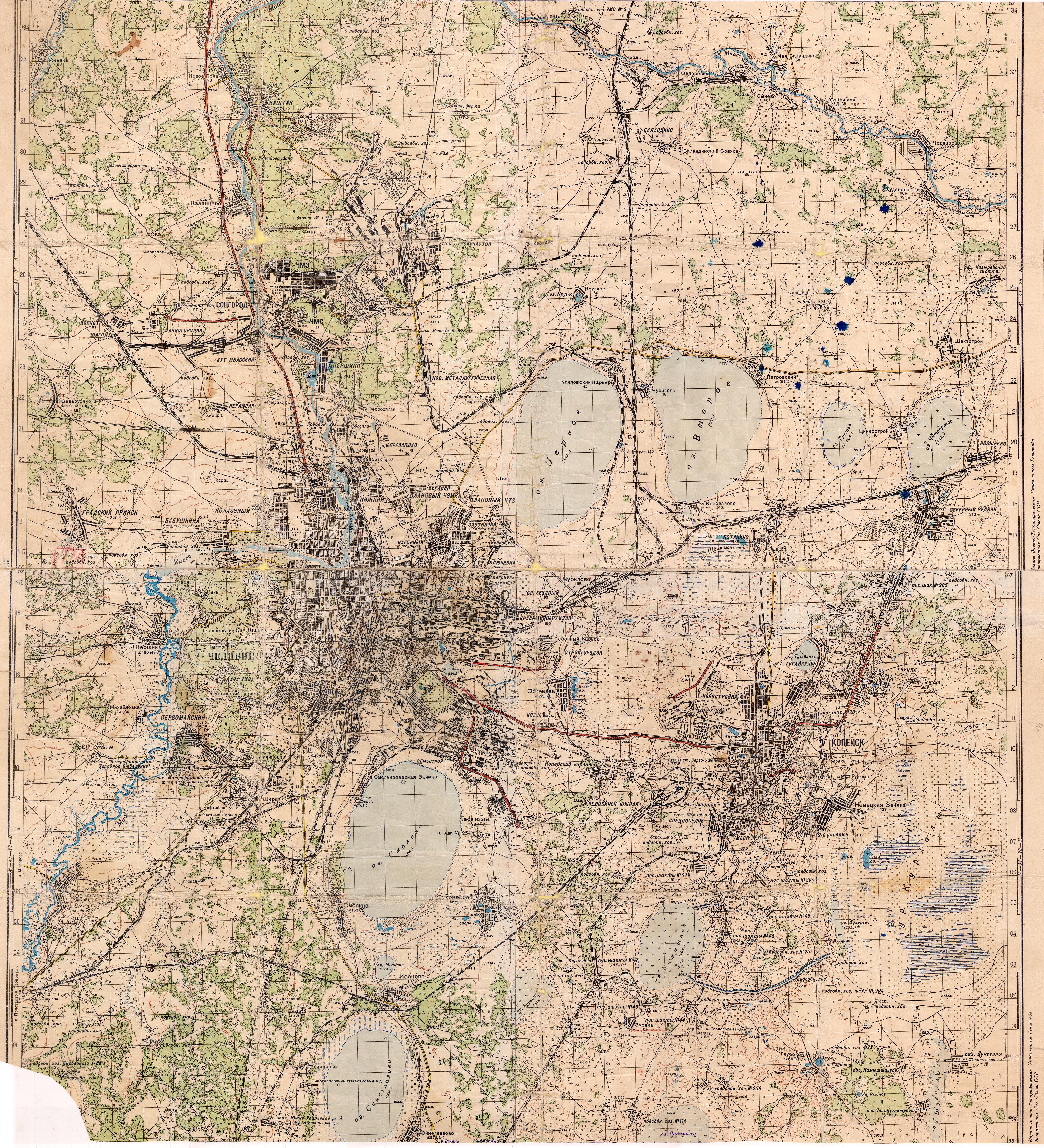 Карта Челябинска начала 1950-х