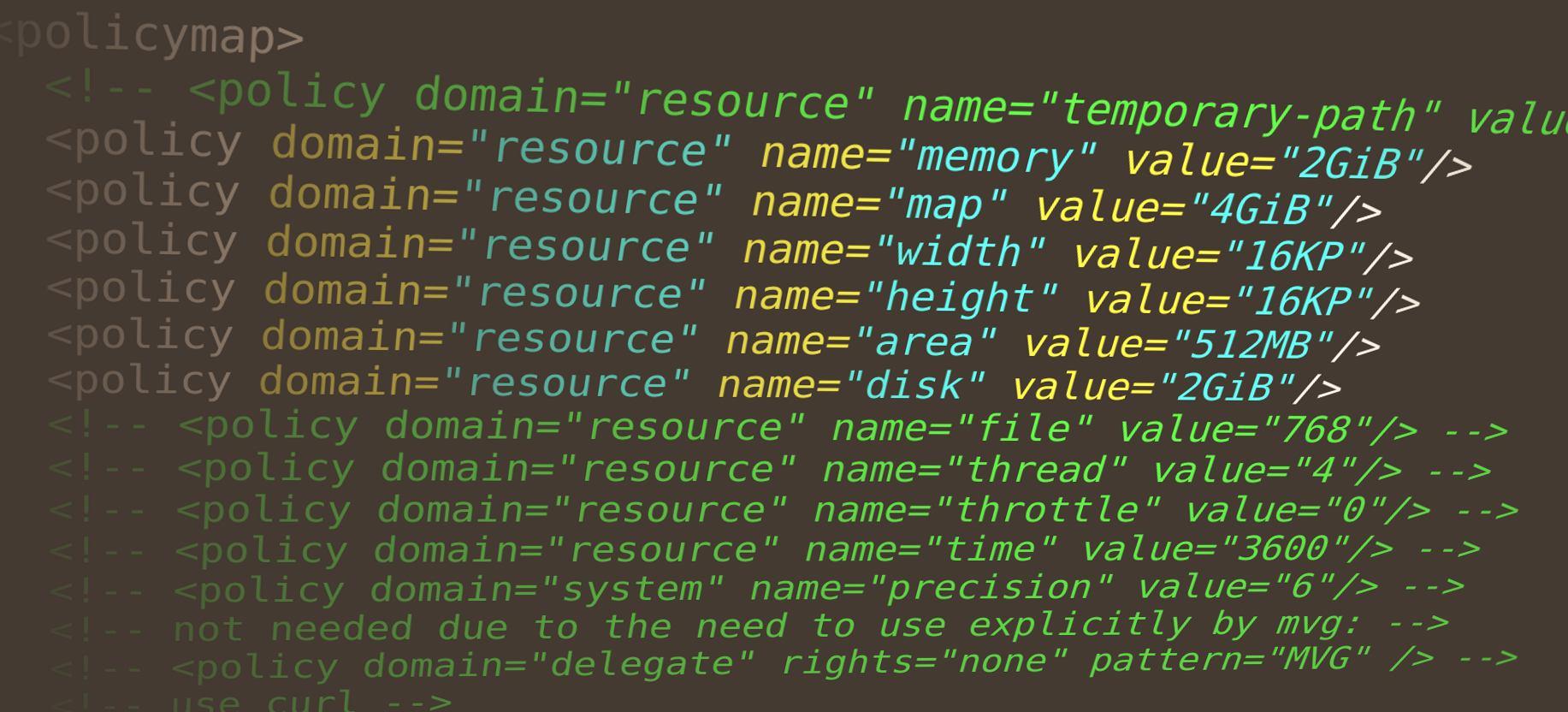 Франгмент файла policy.xml из настроек ImageMagick